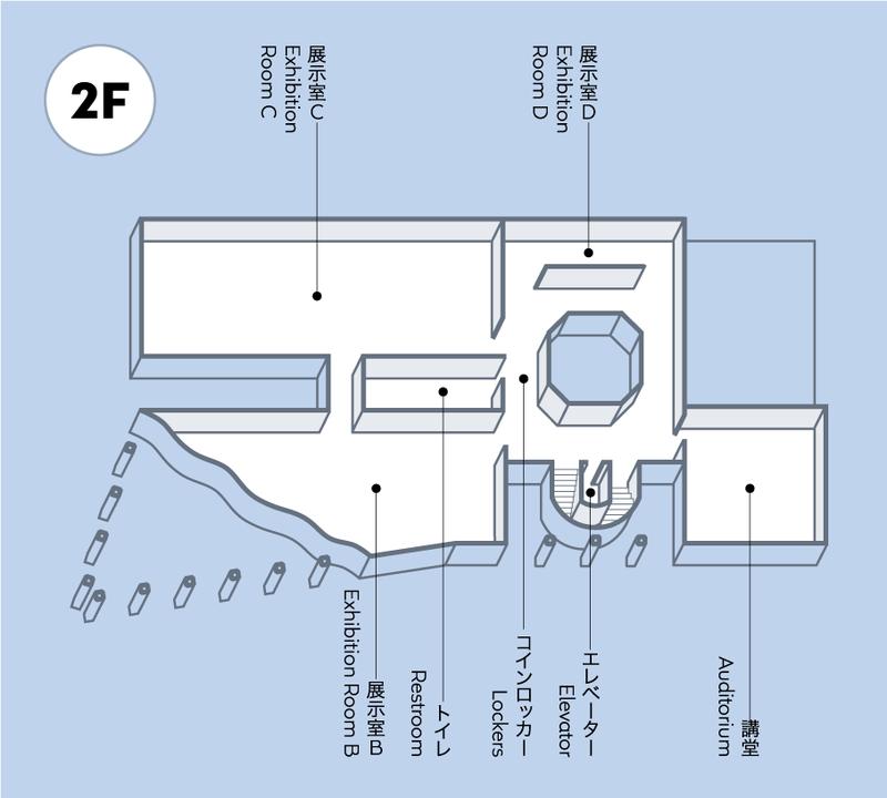 2階には展示室B、展示室C、展示室D、講堂、コインロッカー、トイレがあります