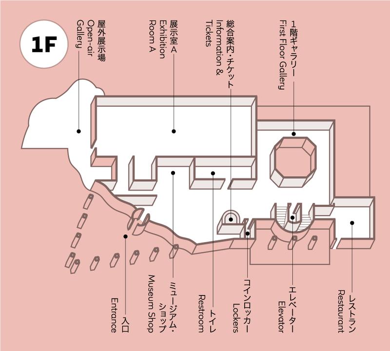 1階には総合案内・チケット売り場、展示室A、ミュージアムショップ、レストラン、コインロッカー、トイレがあります